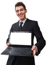 A happy businessman with a laptop young holding blank screen Royalty Free Stock Photos