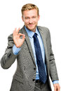 Happy businessman man okay sign - portrait on white background Royalty Free Stock Photo