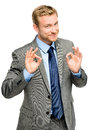 Happy businessman man okay sign - portrait Royalty Free Stock Photo