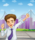 A happy businessman near the pedestrian lane illustration of Royalty Free Stock Photo