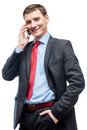 Happy businessman with phone posing on white