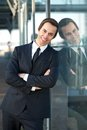 Happy businessman relaxing outdoors Royalty Free Stock Photo
