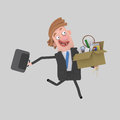 Happy businessman running away