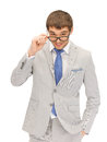 Happy businessman in spectacles portrait picture of Stock Photography