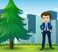 A happy businessman standing near the pine tree illustration of Stock Photography
