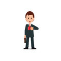 Happy businessman in suit with briefcase holding coffee red .