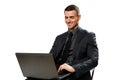 Happy businessman using laptop Royalty Free Stock Photo
