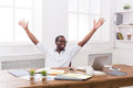 Happy businessman win. Winner, black man in office Royalty Free Stock Photo
