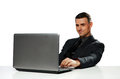 Happy businessman working on laptop Royalty Free Stock Photo