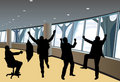 Happy businessmen silhouettes in interior vector Stock Photos