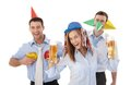Happy businessteam having party smiling fun in office drinking beer Stock Photo