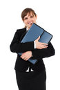 Happy businesswoman with briefcase Royalty Free Stock Photography