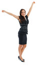 Happy businesswoman celebrating her victory caucasian with hands raised isolated on white background Stock Image
