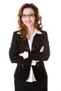 Happy businesswoman with folded arms beautiful smiling Royalty Free Stock Images