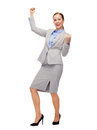 Happy businesswoman with hands up business and office concept young Royalty Free Stock Photos
