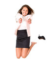 Happy businesswoman jumping Royalty Free Stock Image