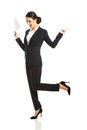 Happy businesswoman with paper notes Royalty Free Stock Photo