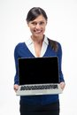 Happy businesswoman showing laptop computer screen Royalty Free Stock Photo