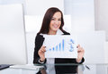 Happy businesswoman showing progress chart portrait of confident at desk in office Royalty Free Stock Photos