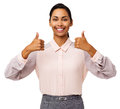 Happy Businesswoman Showing Thumbs Up Royalty Free Stock Photo