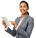 stock image of  Happy Businesswoman Using Digital Tablet
