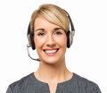 Happy call center representative wearing headset portrait of female isolated over white background horizontal shot Royalty Free Stock Photo
