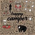 Happy camper vector hand drawn card. Cartoon camping print Royalty Free Stock Photo