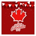 Happy Canada Day design with red maple leaves on red background Royalty Free Stock Photo