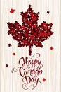 Happy Canada Day handdrawn lettering. Maple leaves texture