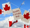 Happy Canada Day. Holiday greeting cards with Maple leaf and Canadian flag.