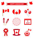 Happy Canada Day icons set, design elements, flat style. July 1 National Day of Canada holiday collection of objects