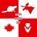 Happy Canada Day. Silhouettes of symbols of Canada. Vector illus