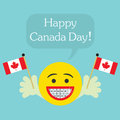 Happy Canada Day! smiley face icon with big smile and orthodontics teeth Royalty Free Stock Photo
