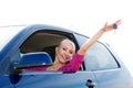 Happy car driver showing new car keys Royalty Free Stock Photo