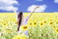 Happy carefree summer girl