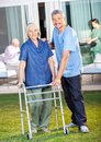 Happy caretaker helping senior woman to use zimmer portrait of women frame at nursing home lawn Royalty Free Stock Image