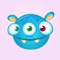 Happy cartoon alien head. Vector illustration of monster head Royalty Free Stock Photo
