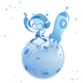 Happy cartoon alien spaceman in small planet with space rocket Royalty Free Stock Photo