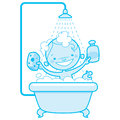 Happy cartoon baby kid in bath tub blue version of a having a bathtub holding a shampoo bottle and a scrubber and having a rubber Stock Photos