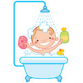 Happy cartoon baby kid in bath tub having a bathtub holding a shampoo bottle and a scrubber and having a rubber duck toy Royalty Free Stock Photo