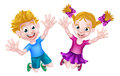 Happy cartoon boy and girl jumping young kids for joy with hands in the air Royalty Free Stock Photography