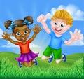 Happy Cartoon Boy and Girl Royalty Free Stock Photo