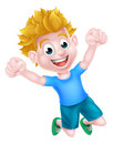 Happy cartoon boy jumping a for joy and with two fists in the air Royalty Free Stock Photography