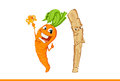 Happy cartoon carrot with reward and Strict stick.
