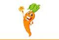 Happy cartoon carrot with reward.