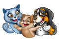 Happy cartoon cats and dog