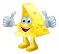 Happy cartoon cheese man a drawing of a giving a double thumbs up Stock Photography