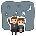 Happy cartoon couple in night vector illustration conceptual drawing art of young romantic at Stock Photography