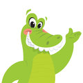 Happy cartoon crocodile presenting green is smiling while making a presentation gesture Stock Image