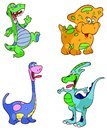 Happy cartoon dinosaurs set of four dinosaur illustrations in bright colors Stock Image